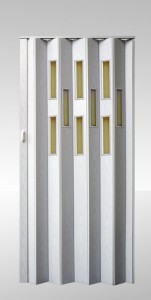 Shrnovací dveře prosklené Bříza