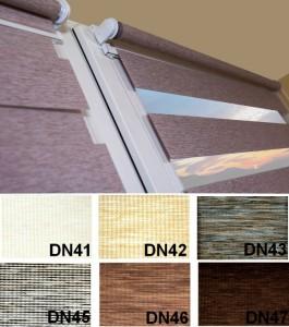 Rolety / okenní / Mini Den a Noc do oken s vodícími silony režné látky